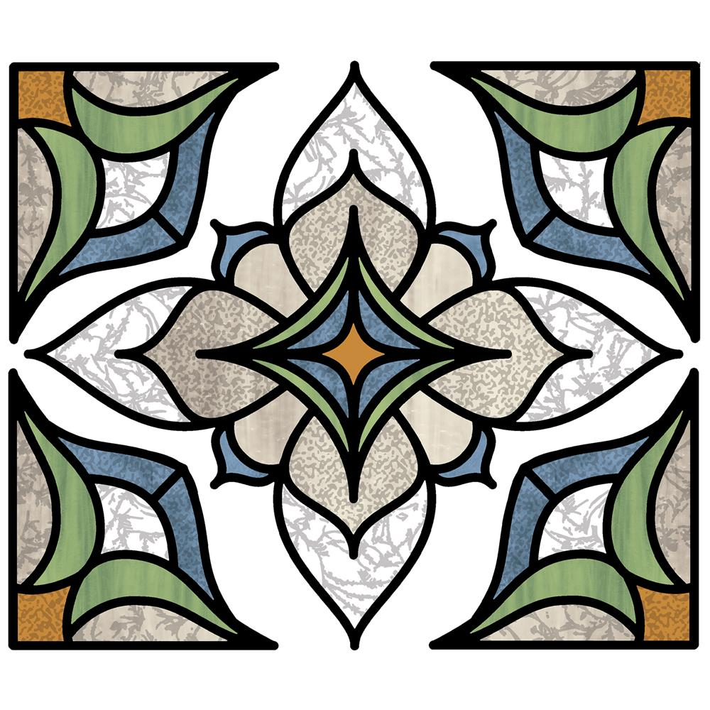 InHome by Brewster NH2415 Blue Alden Stained Glass Decal