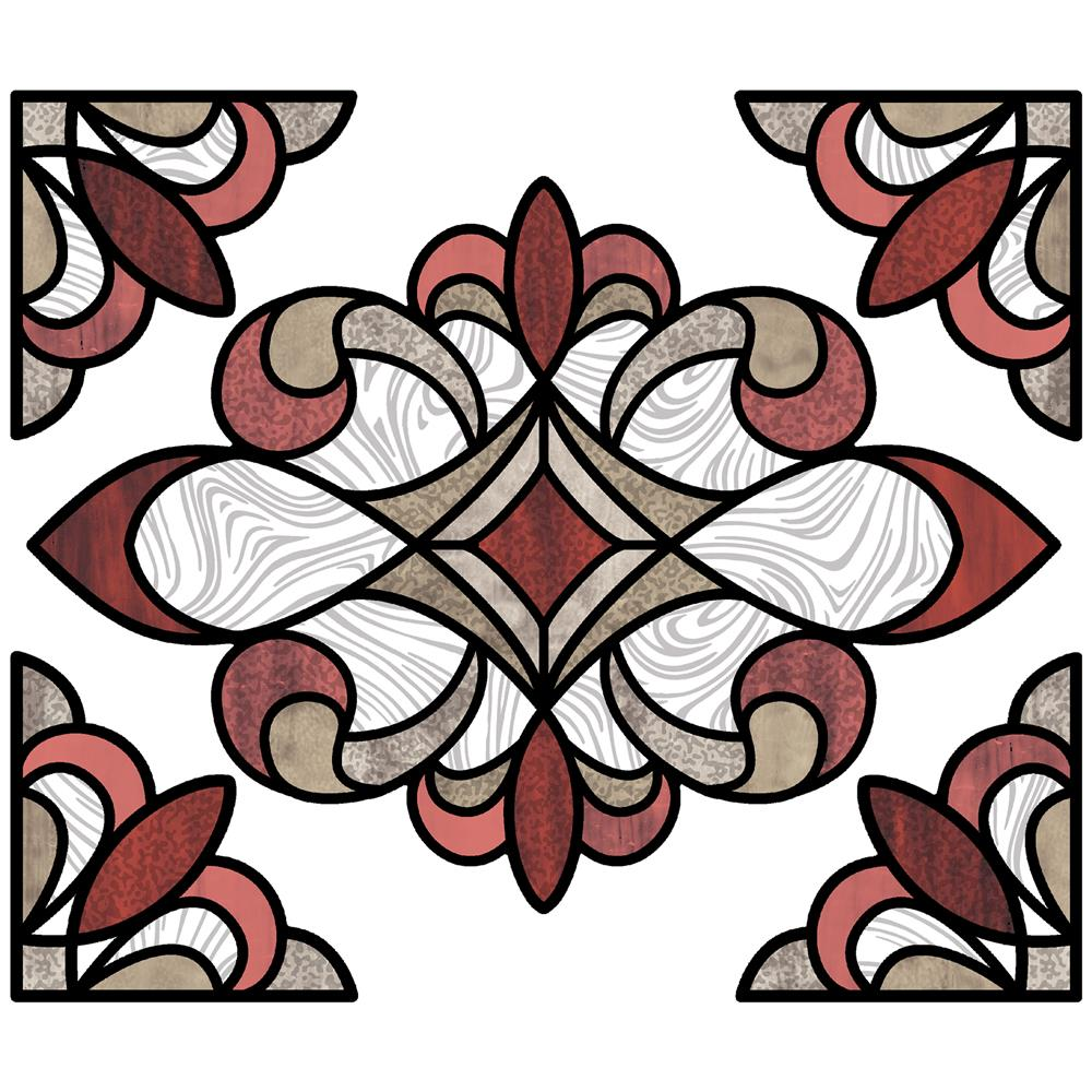 InHome by Brewster NH2416 Red Westwood Stained Glass Decal