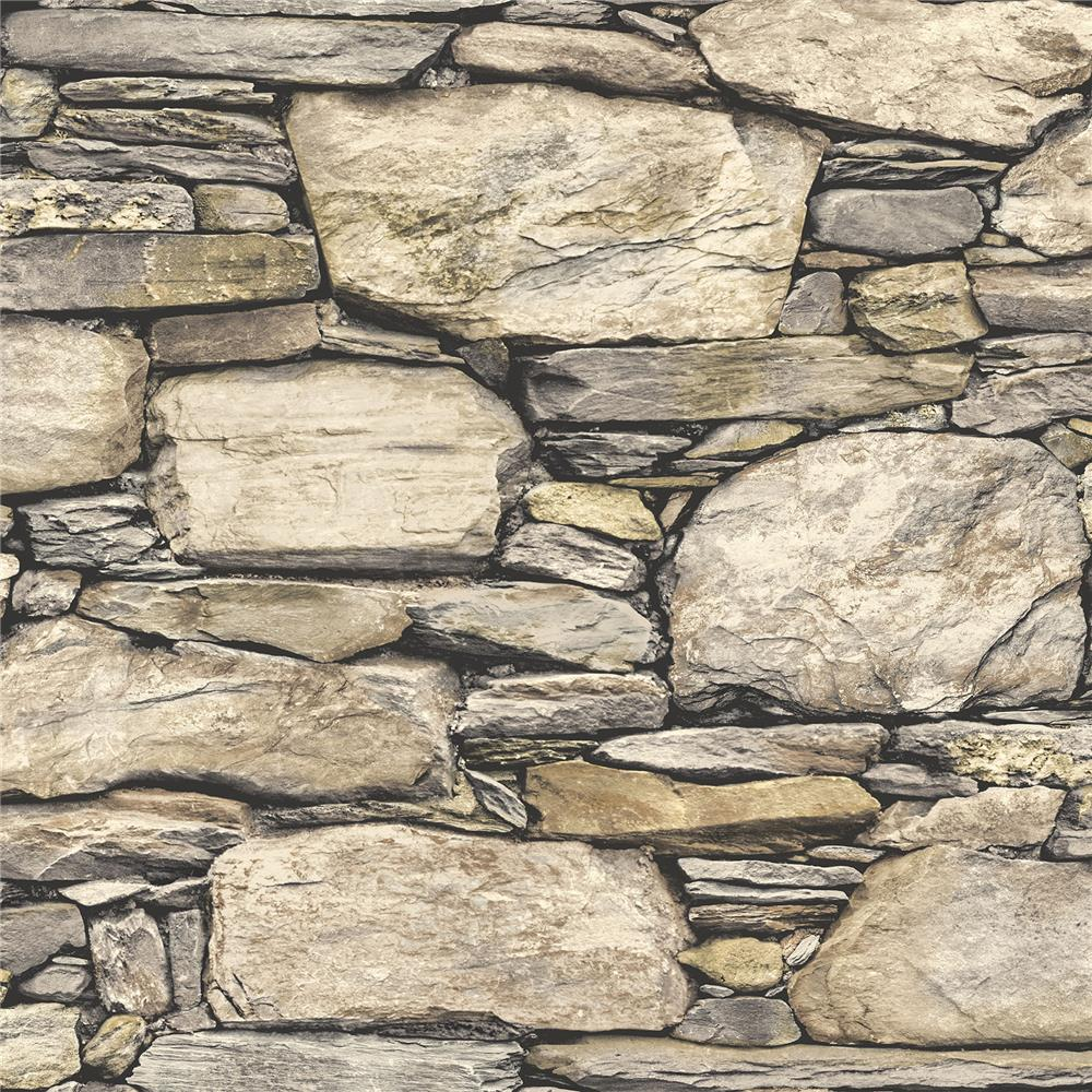 NuWallpaper by Brewster NU2065 Hadrian Stone Wall Peel and Stick Wallpaper