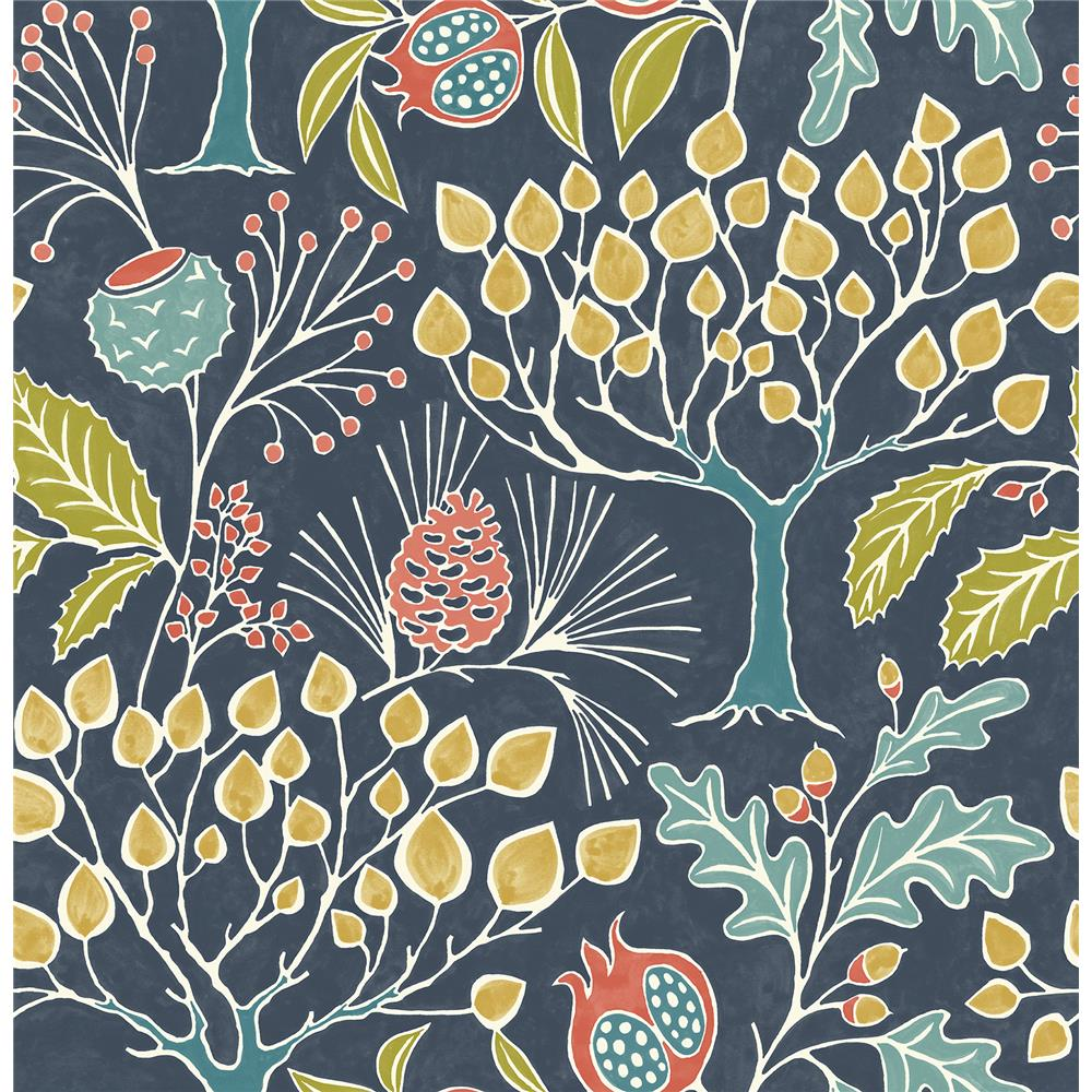 NuWallpaper by Brewster NU3038 Groovy Garden Navy Peel & Stick Wallpaper