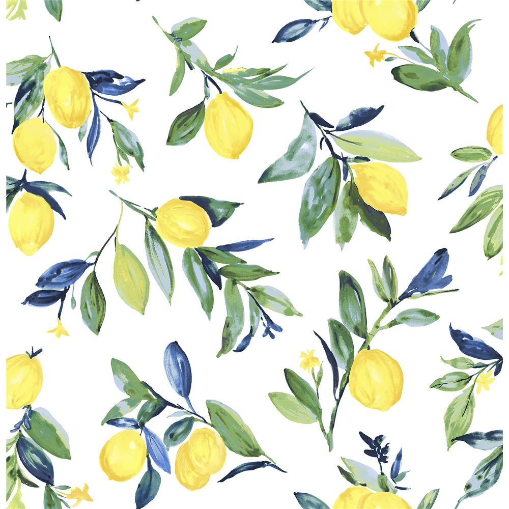 NuWallpaper by Brewster NU3042 Lemon Drop Yellow Peel & Stick Wallpaper