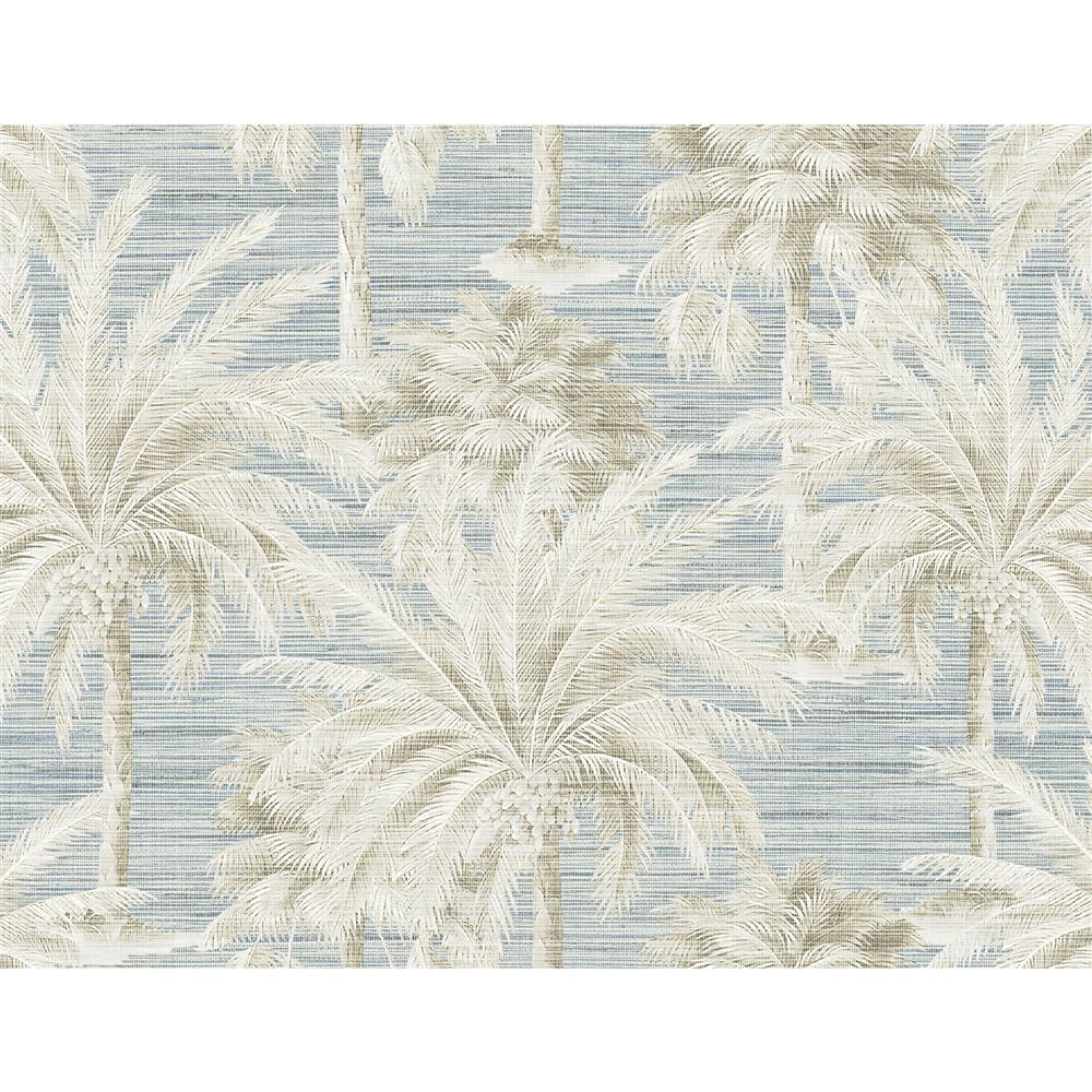 Kenneth James by Brewster PS40002 Palm Springs Dream Of Palm Trees Blue Texture Wallpaper