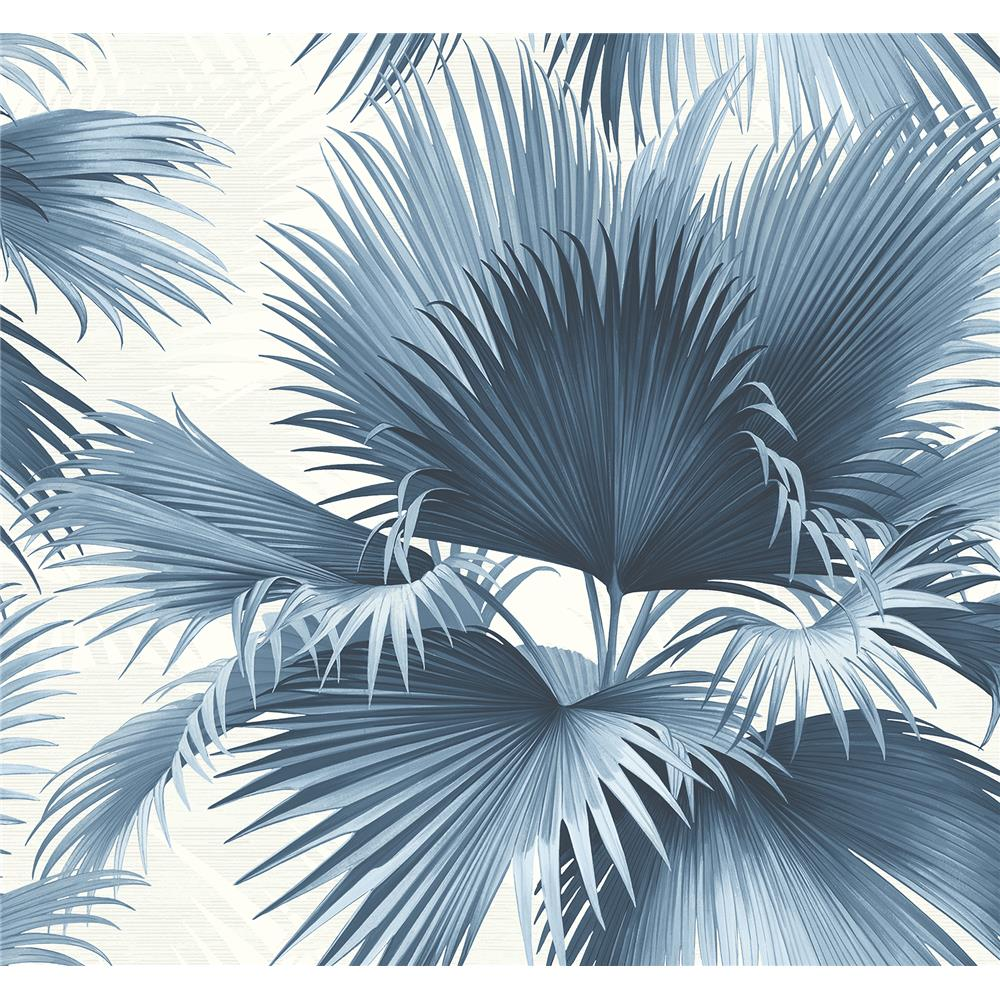 Kenneth James by Brewster PS40102 Palm Springs Endless Summer Blue Palm Wallpaper
