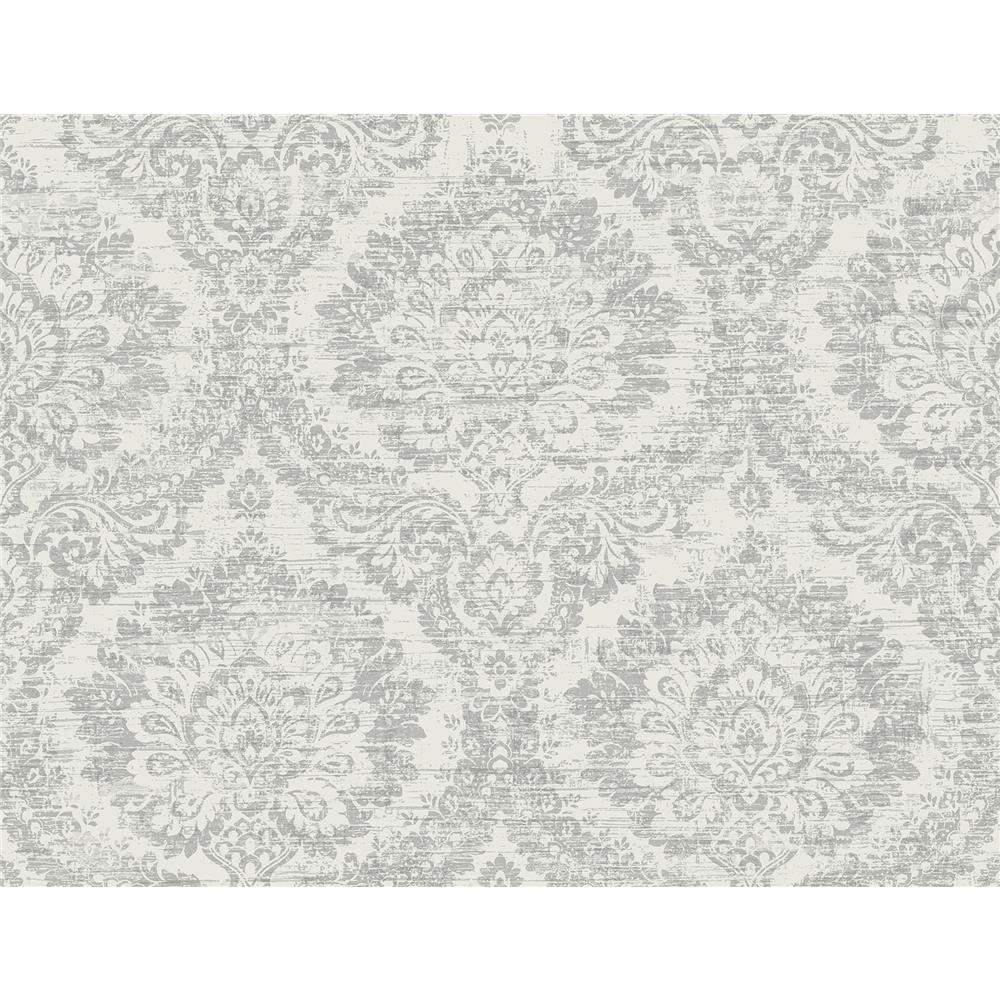 Kenneth James by Brewster PS41908 Palm Springs Kauai Grey Damask Wallpaper