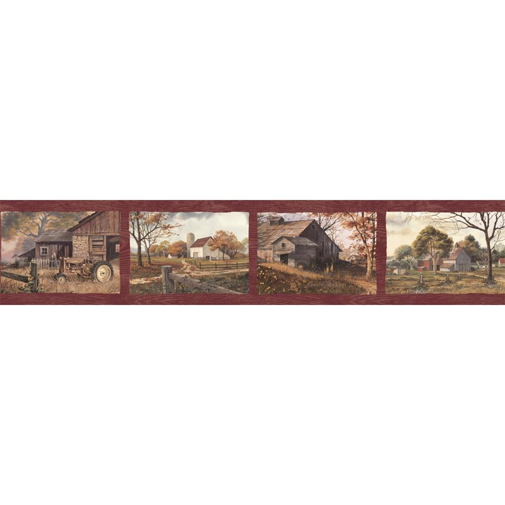 Chesapeake by Brewster PUR44591B Pure Country Norm Red Quiet Country Scenes Border Wallpaper in Red