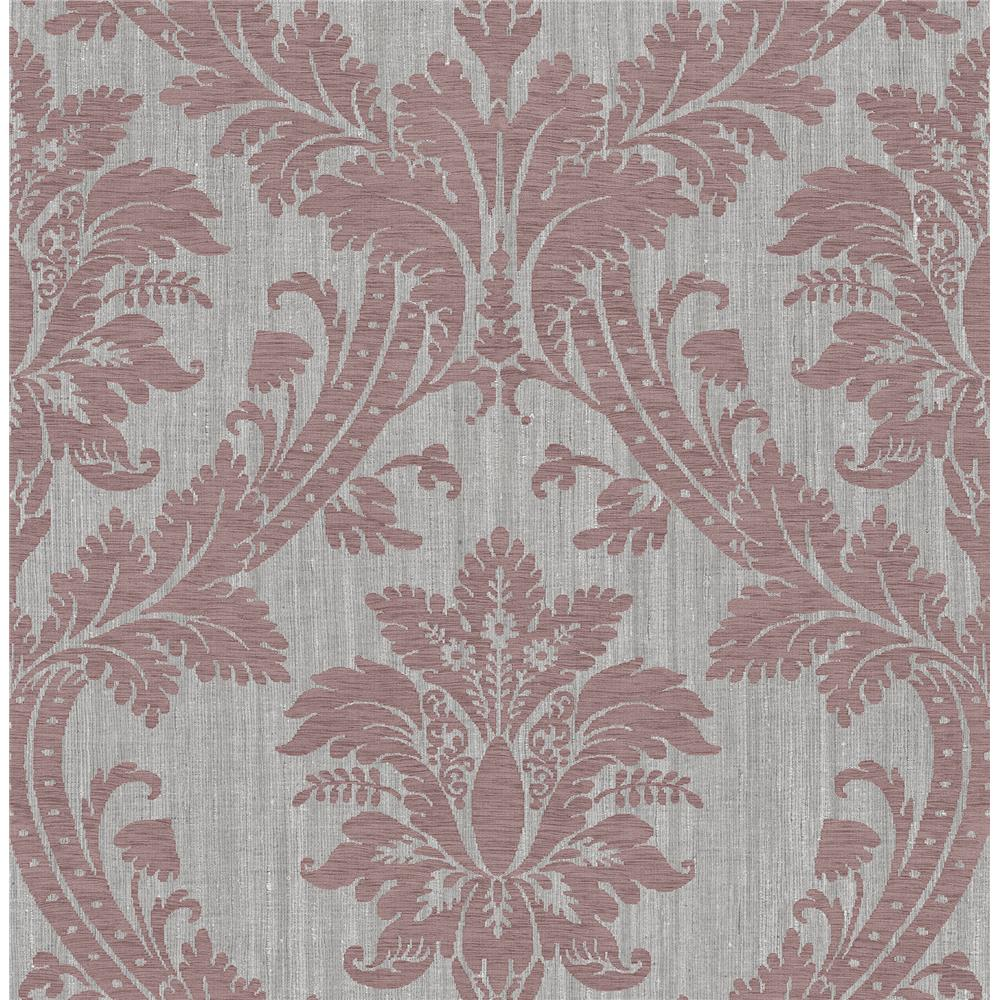 Sirpi by Brewster SR24115 Clelia Maroon Damask Wallpaper
