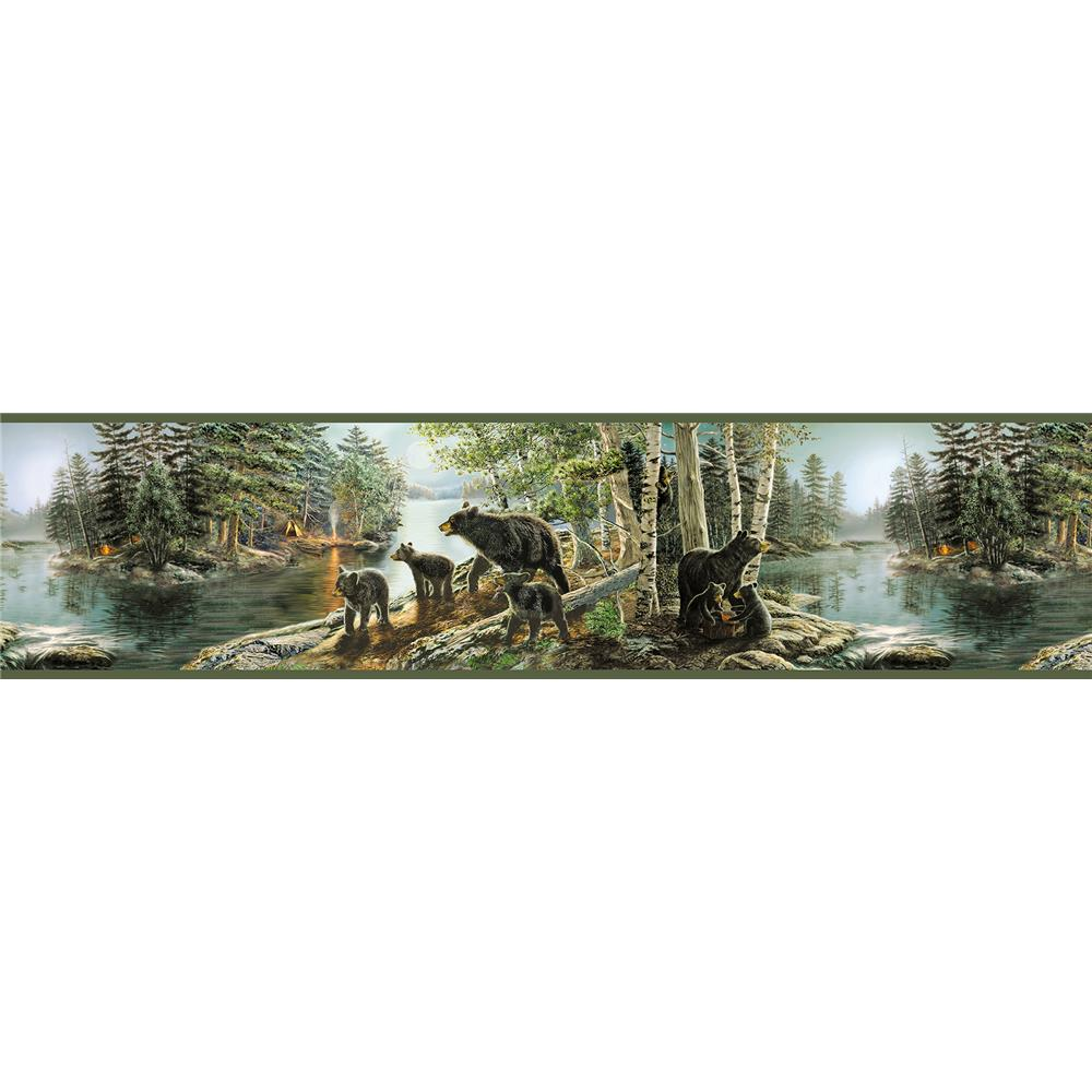 Chesapeake by Brewster TLL01531B Echo Lake Lodge Salvador Green Bear Necessities Border Wallpaper in Green