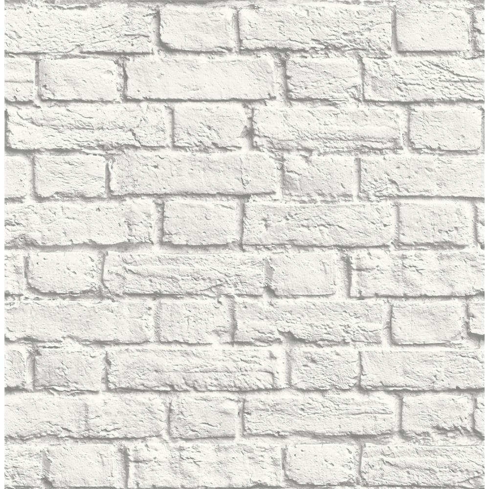 Brewster UW24763 Cologne White Painted Brick Wallpaper