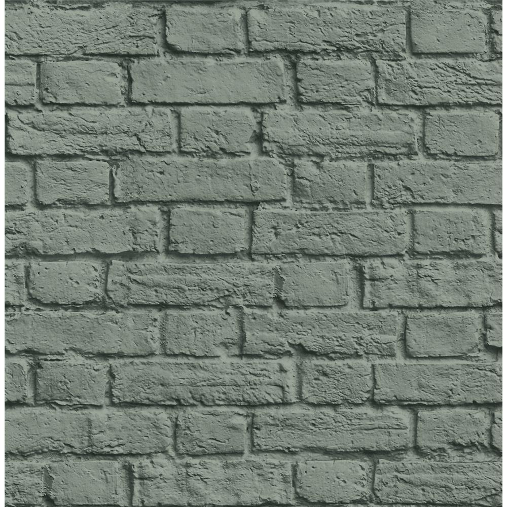 Brewster UW24765 Cologne Green Painted Brick Wallpaper
