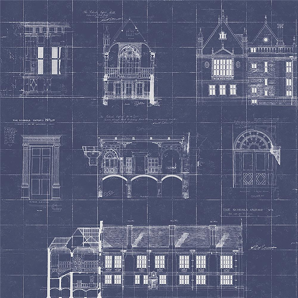 Brewster WP0090701 Estcourt Navy Blueprint Wallpaper