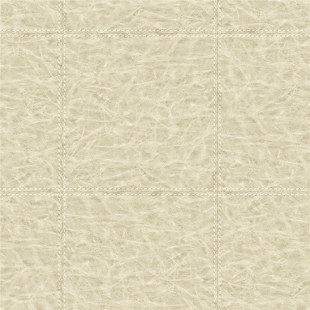 Brewster WP0091201 Study Check Taupe Leather Wallpaper