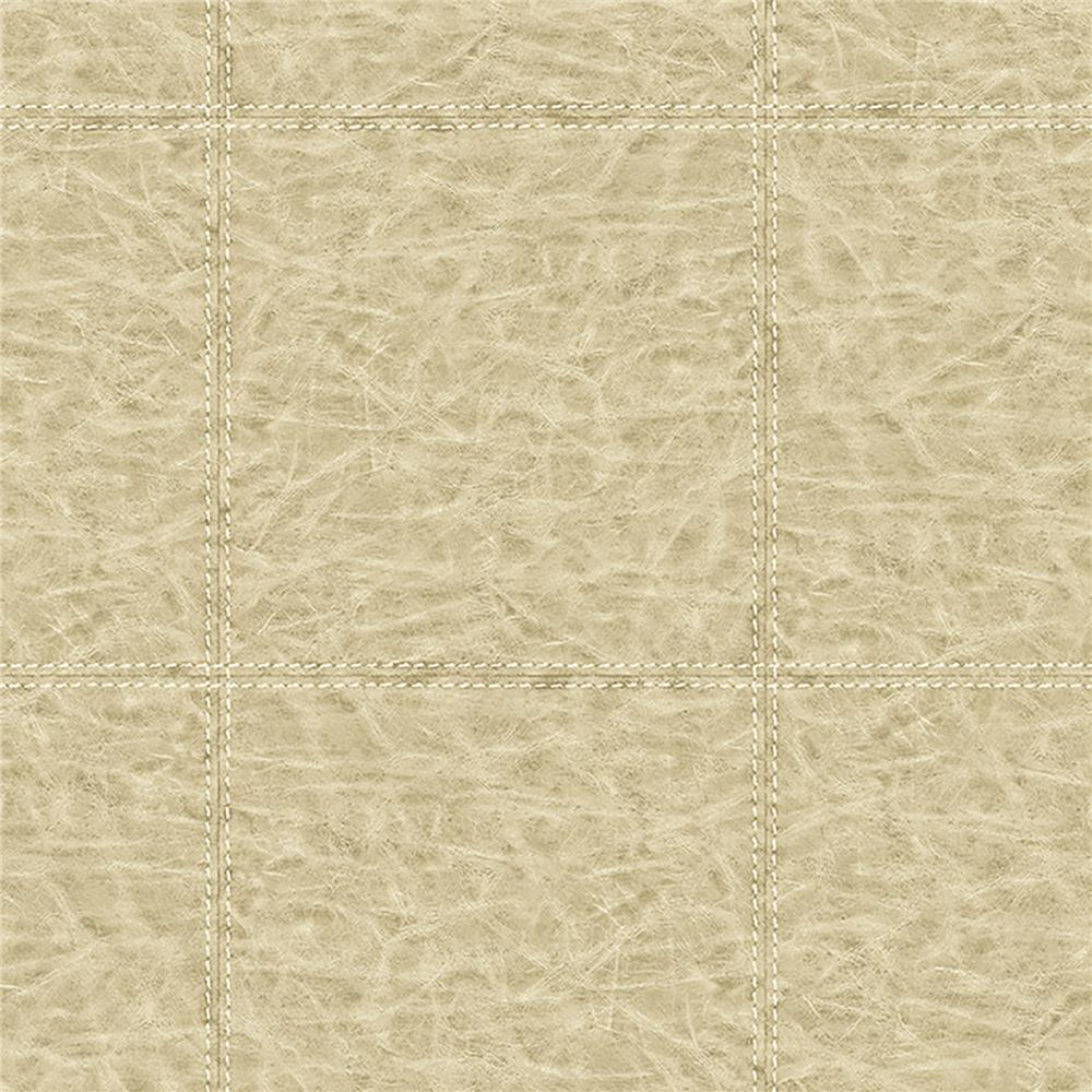 Brewster WP0091202 Study Check Beige Leather Wallpaper