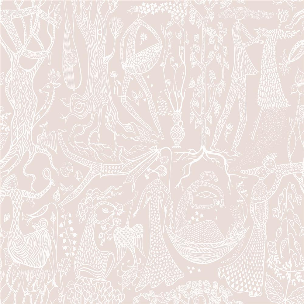 Wall Vision by Brewster WV1764 Poem d ´Amour Blush Folk Wallpaper