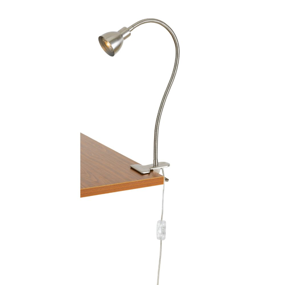 Cal Lighting BO-129-BS Brushed Steel LED 6W, 450LM, 3K GU10 gooseneck clamp on light (bulb included)