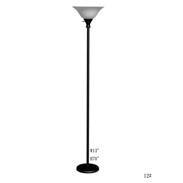 CAL Lighting BO-213-BK 150W 3 Way Metal Torchiere With Glass Shade in Black