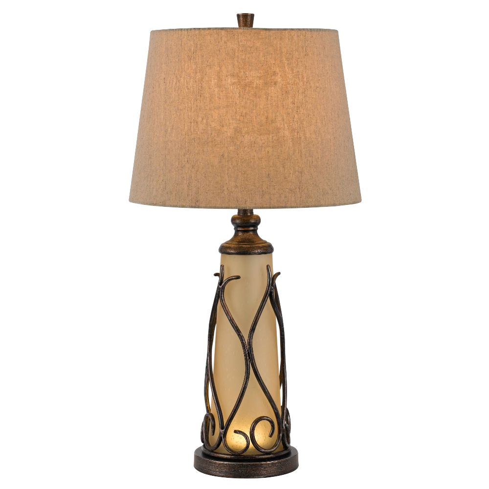 Cal Lighting BO-2348TB Dark Bronze Taylor 1 Light Pedestal Base Table Lamp