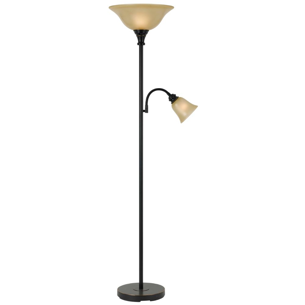 Cal Lighting BO-2391TR-DB Dark Bronze 2 Light Pedestal Base Torchier Floor Lamp