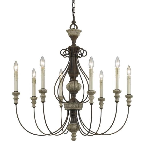 CAL Lighting FX-3535/8 8 Ltg Williams Metal/Resin Chandelier in Rust / Dapple Gray