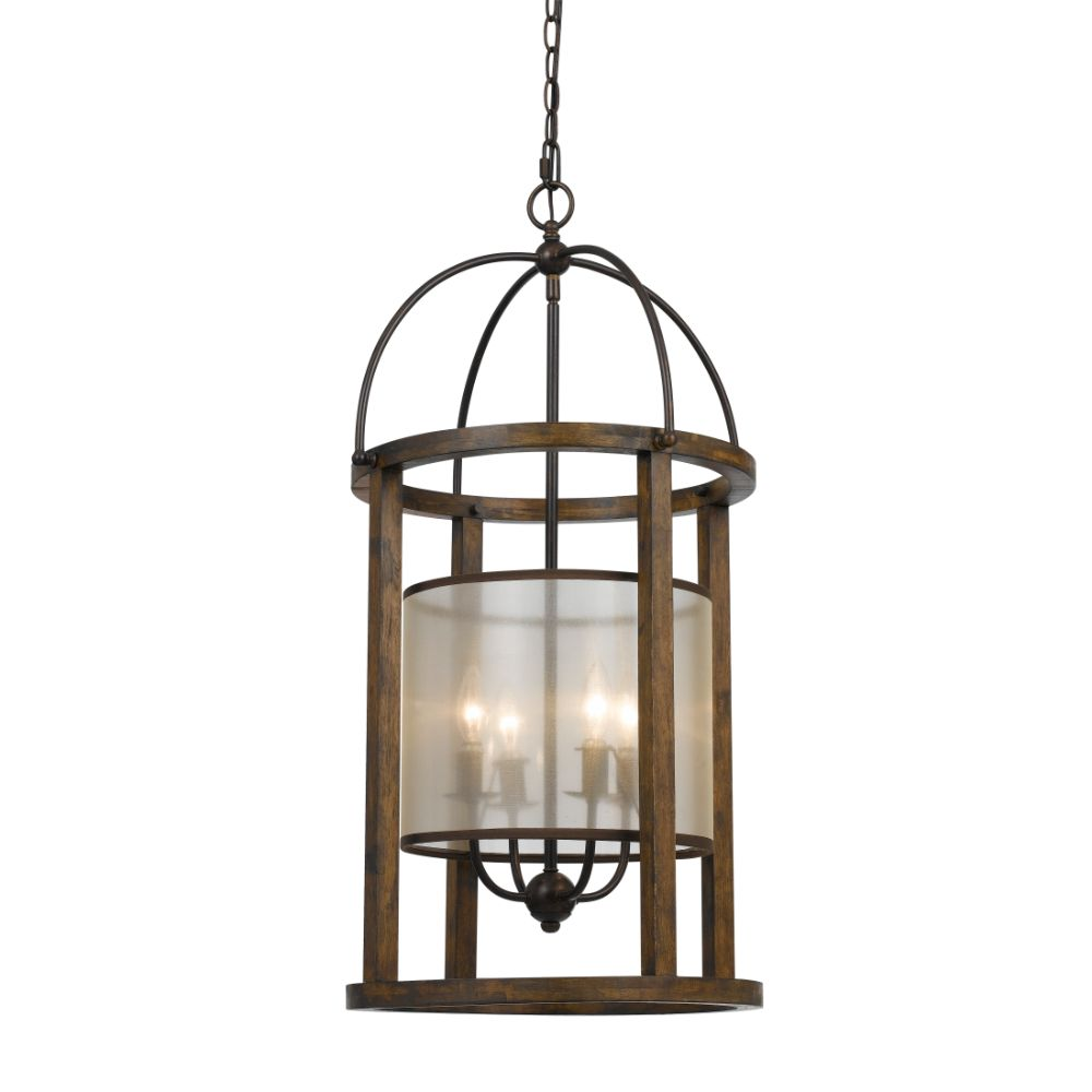 Cal Lighting FX-3536/4L Wood Mission 4 Light Chandelier with Organza Shade
