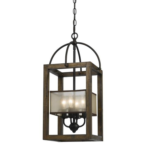 CAL Lighting FX-3536/4 4 Ltg Mission Wood/Metal Chandelier With Orgensa Shade in Dark Bronze / Reddish Brown