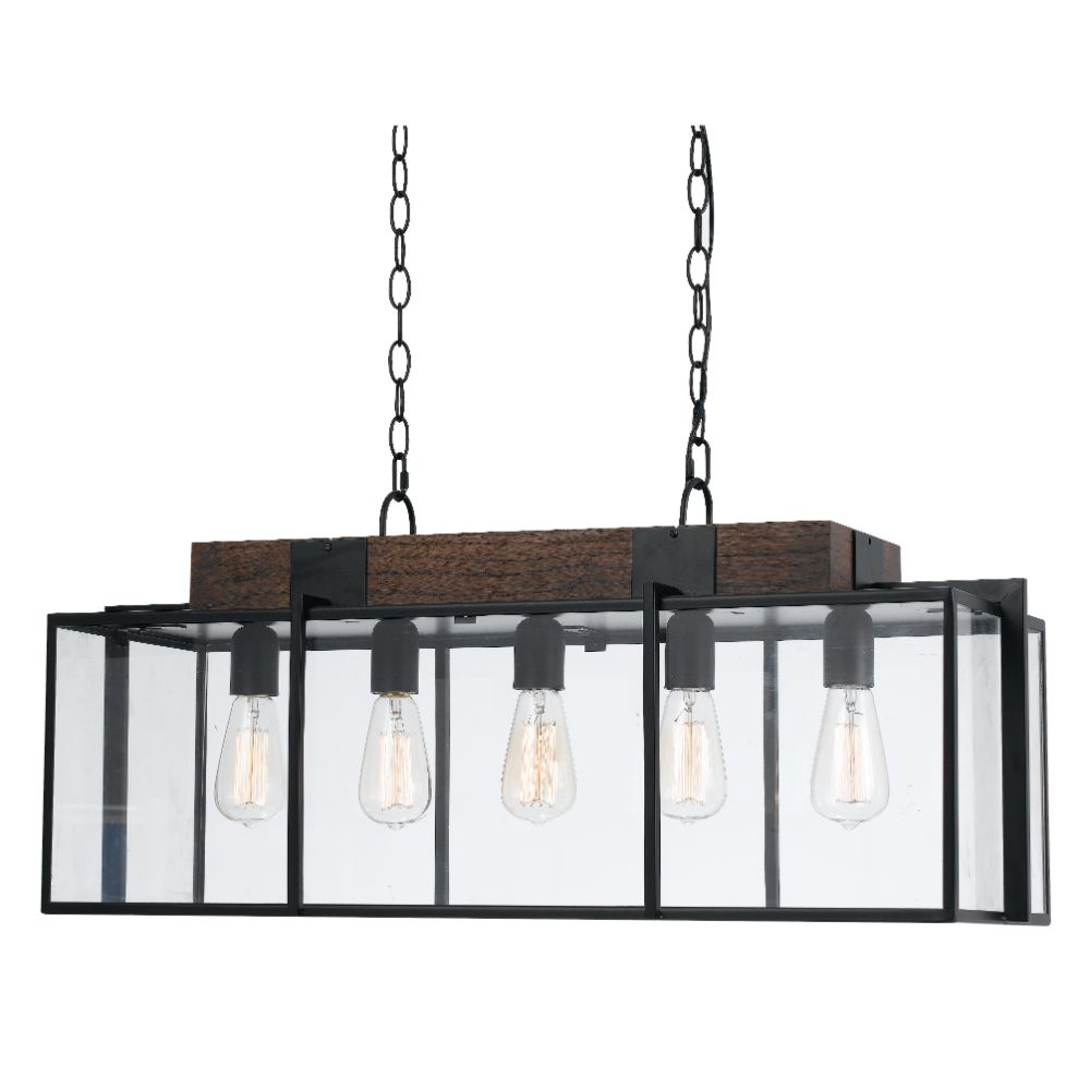 Cal Lighting FX-3582-5 Dark Bronze / Wood Antonio 5 Light Chandelier