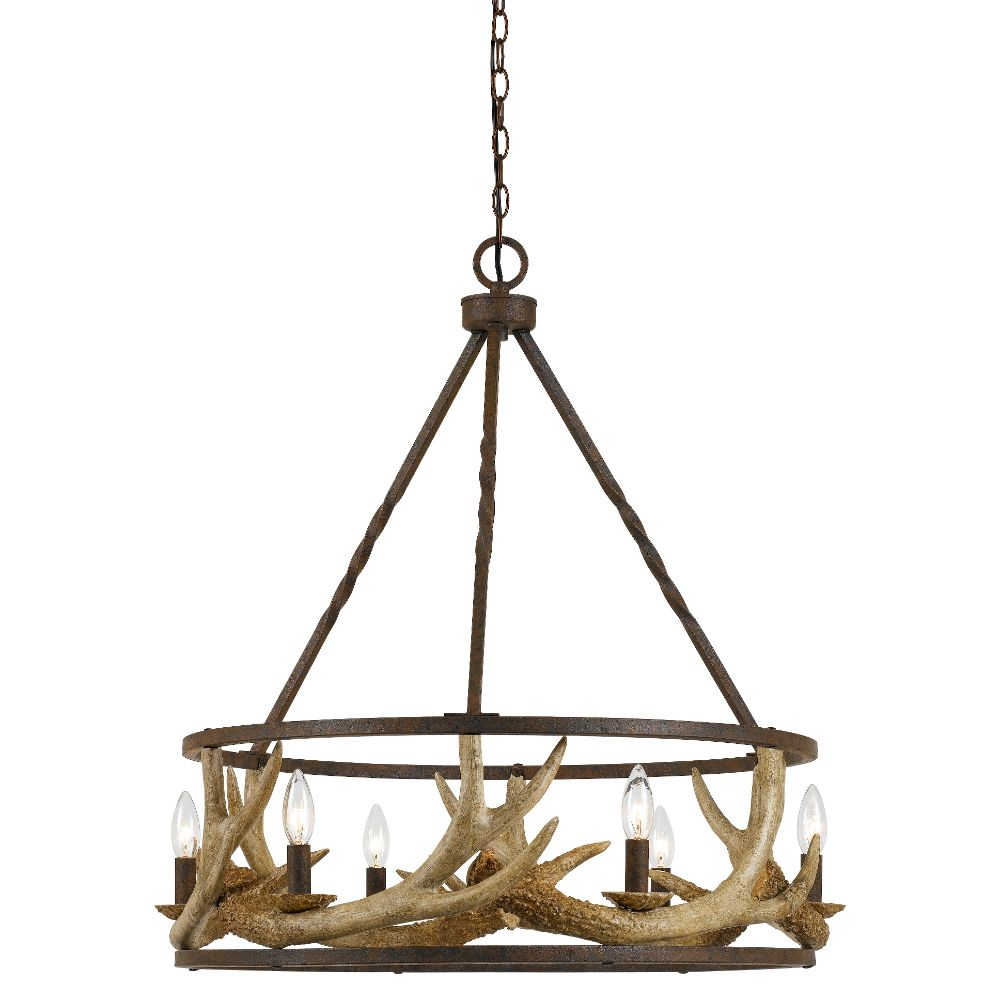 Cal Lighting FX-3618-6 Rust 60W x 6 metal / resin antler chandelier