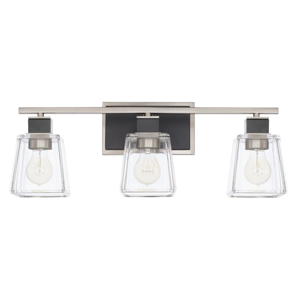 Capital Lighting 125231BT-445 Tux 3 Light Vanity Fixture in Black Tie