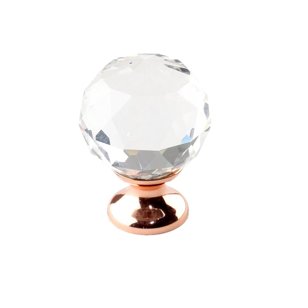 Century Hardware 18905-RGCRY Rose Gold - Transparent faceted Knob, 30mm dia, base 20mm dia, Rose Gold