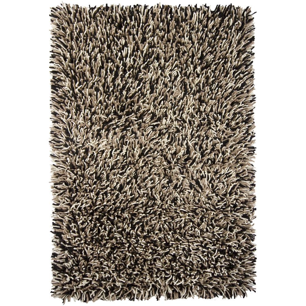 Chandra Rugs BIG20800 BIG JOS Hand-Woven Contemporary Shag Rug in Black/Taupe/Ivory, 5