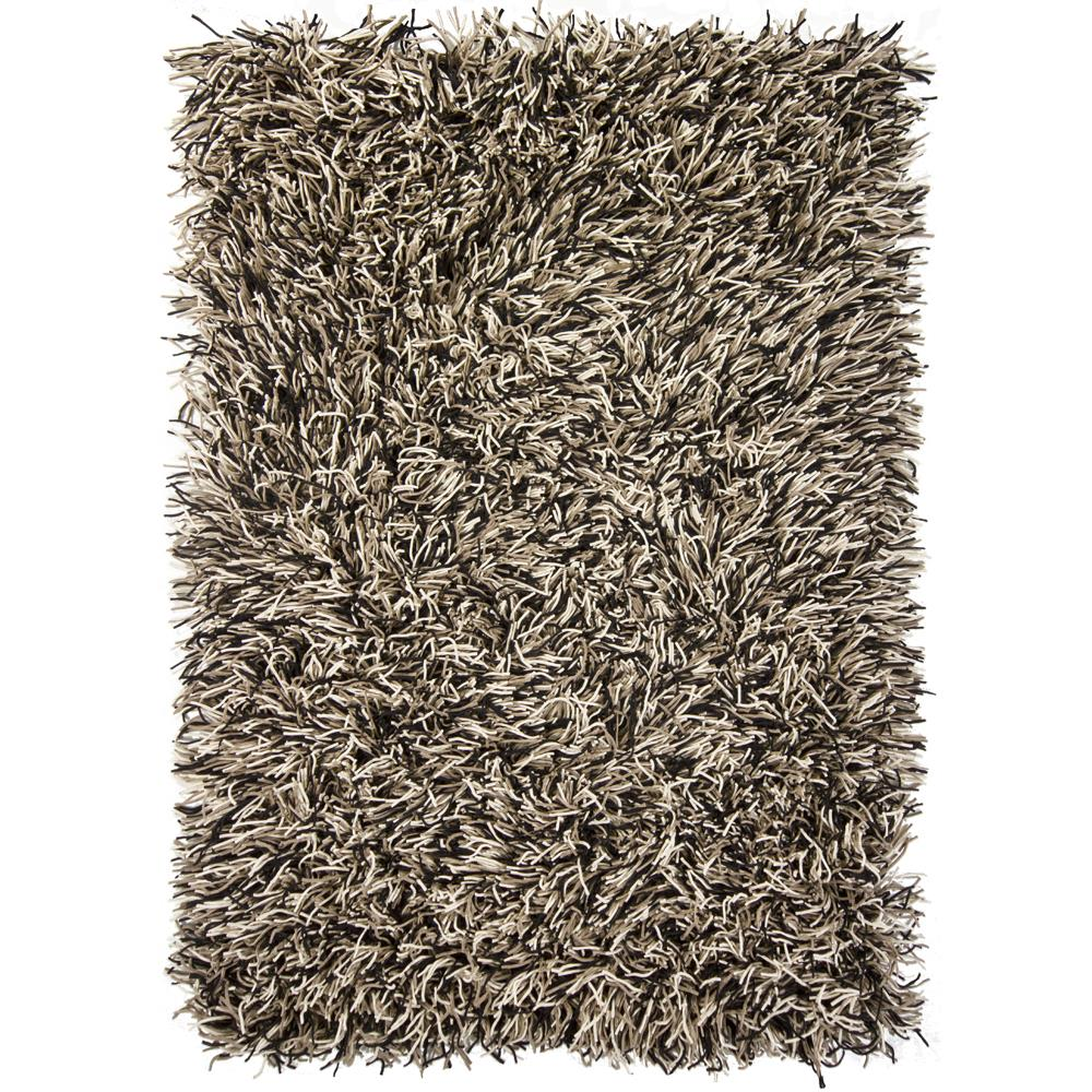Chandra Rugs CYR10802 CYRAH Hand-Woven Contemporary Shag Rug in Black/Taupe/Ivory, 5