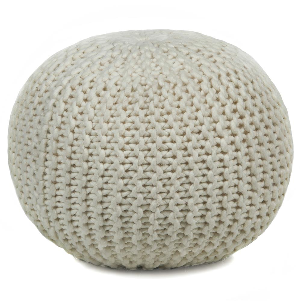 Chandra Rugs POU115 POUFS Hand-Knitted Contemporary Wool Pouf in Ivory, 1