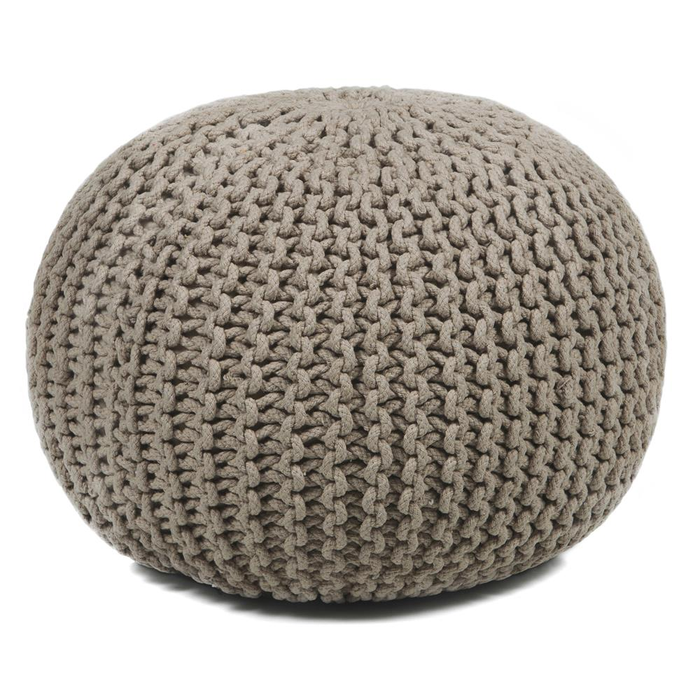 Chandra Rugs POU119 POUFS Hand-Knitted Contemporary Cotton Cord Pouf in Beige, 1