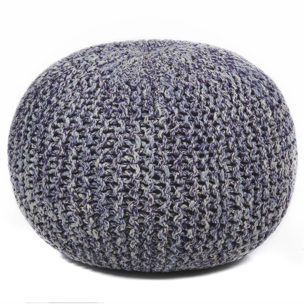 Chandra Rugs POU128 POUFS Hand-Knitted Contemporary Cotton Cord Pouf in Purple/Grey/Cream, 1