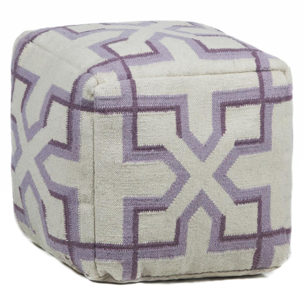 Chandra Rugs POU132 POUFS Hand-Knitted Contemporary Wool Pouf in Cream/Purple/Plum, 1