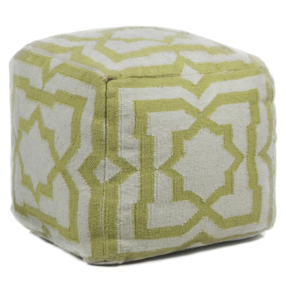 Chandra Rugs POU136 POUFS Hand-Knitted Contemporary Wool Pouf in Cream/Green, 1