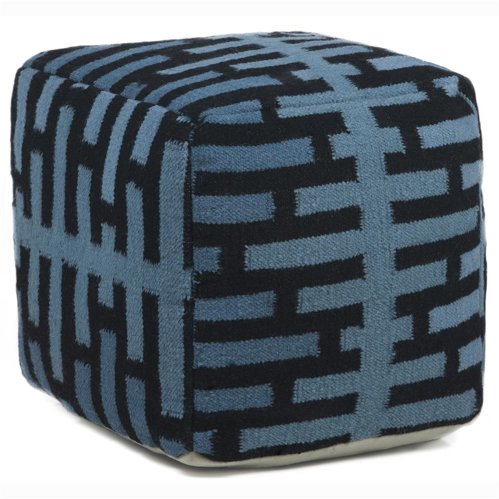 Chandra Rugs POU140 POUFS Hand-Knitted Contemporary Wool Pouf in Blue/Black, 1