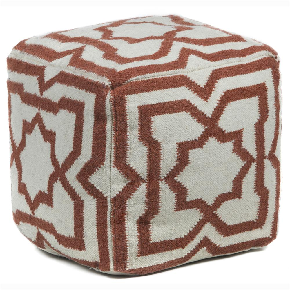 Chandra Rugs POU141 POUFS Hand-Knitted Contemporary Wool Pouf in Cream/Rust, 1