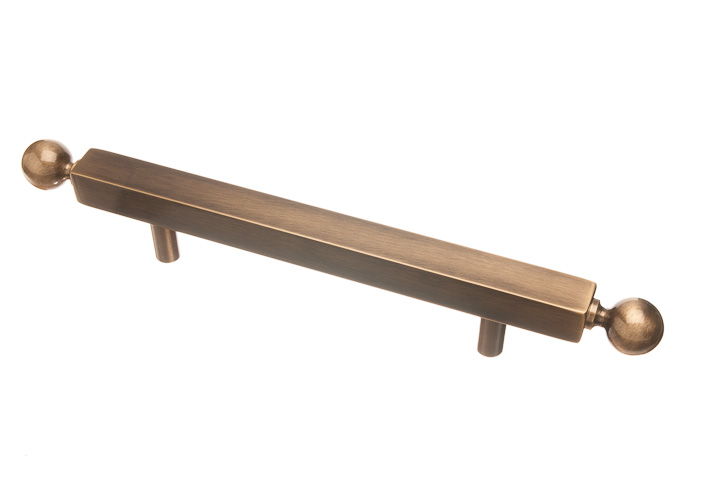 "Colonial Bronze 215T-8-9 1"" square pull 8"" center to center with ball ends thru bolt mount  - Polished Bronze"