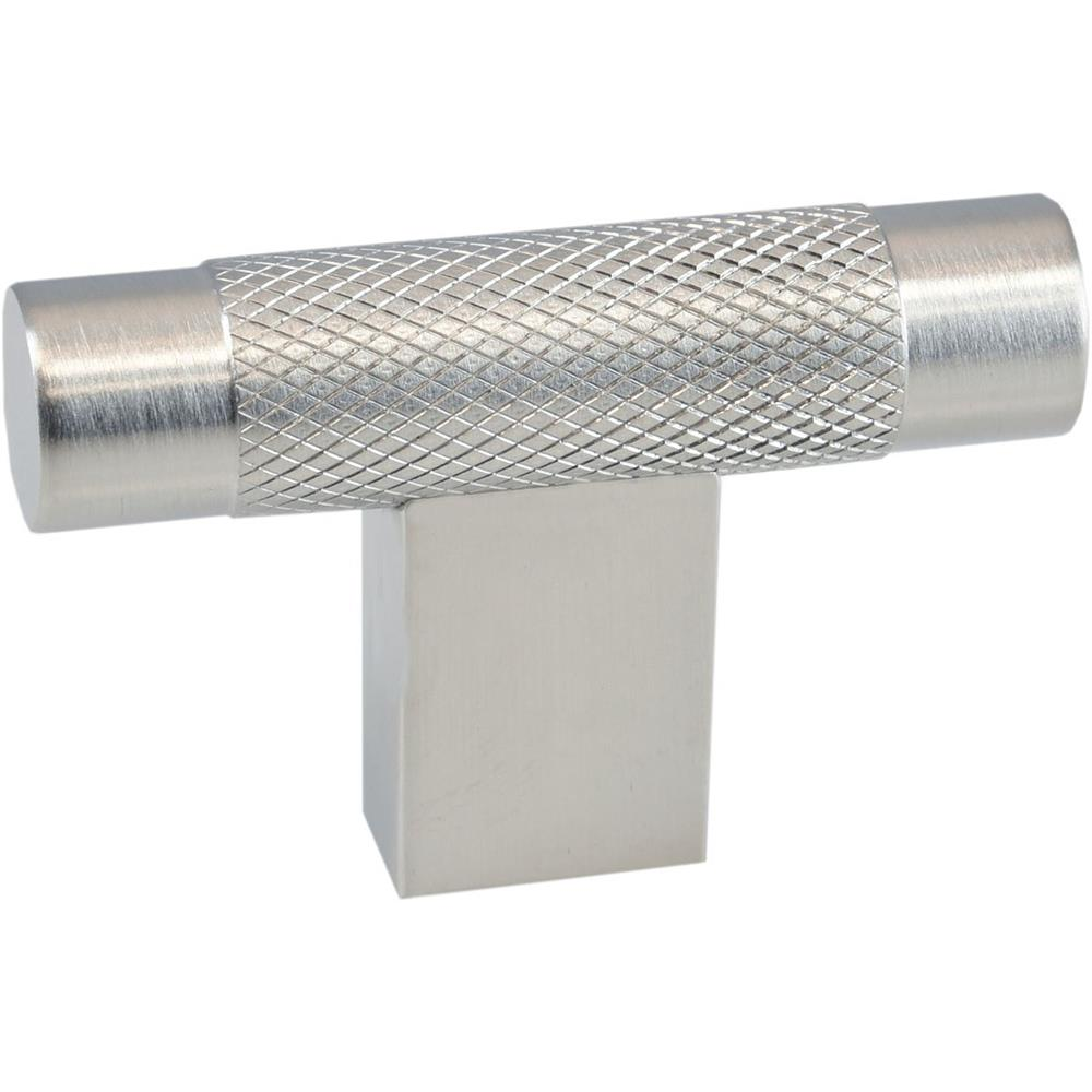 "Colonial Bronze 571-26D 2"" T-knob with Diamond Knurl and Rectangular Post in Satin Chrome"