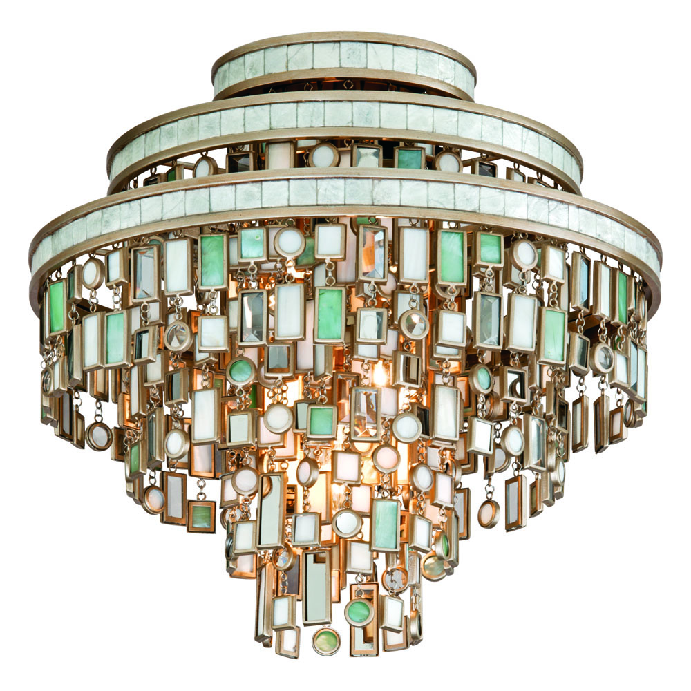 Corbett Lighting 142-33 Dolcetti 3 Light Semi Flush in Dolcetti Silver