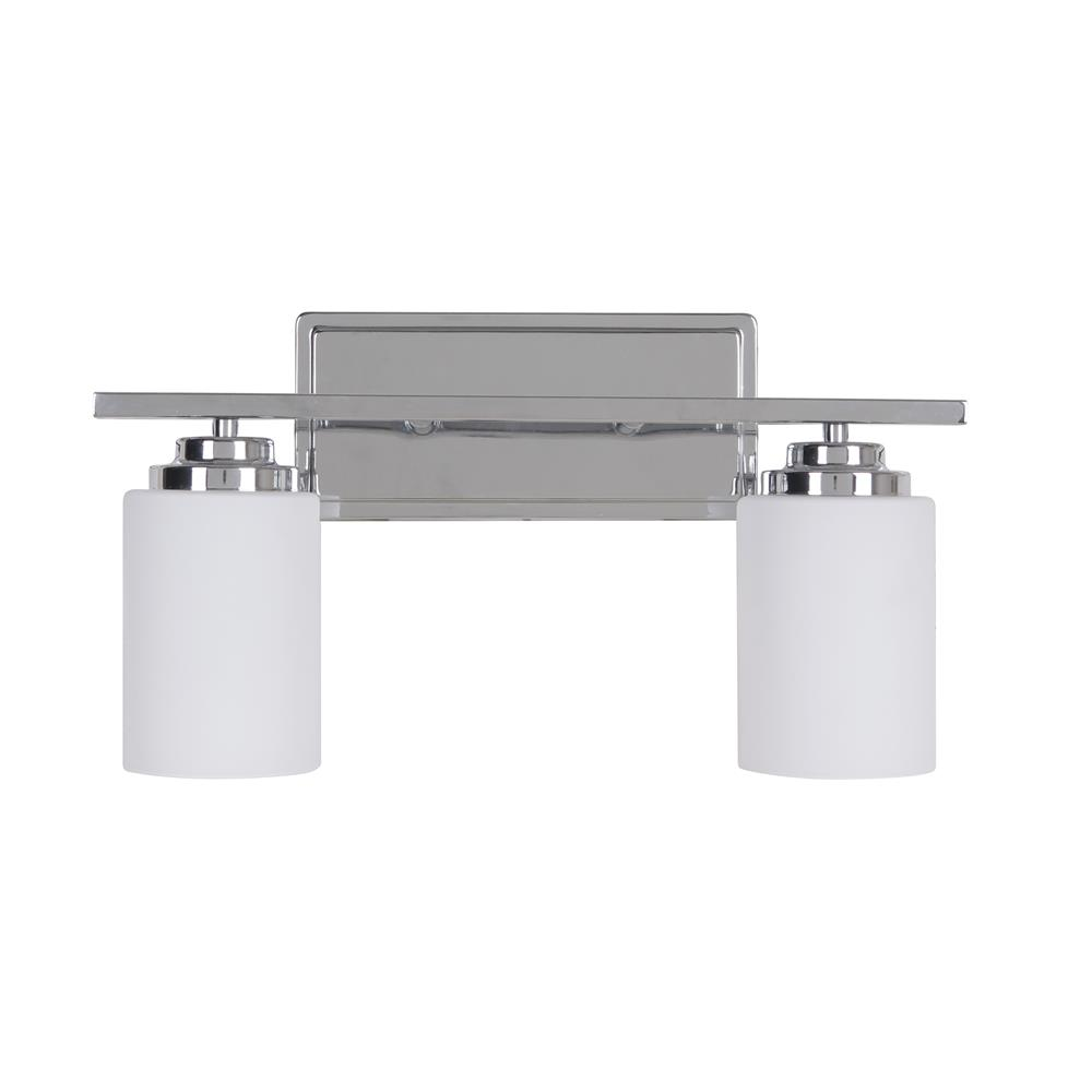 Craftmade 39702-CH Albany 2 Light Vanity in Chrome with White Frosted Glass