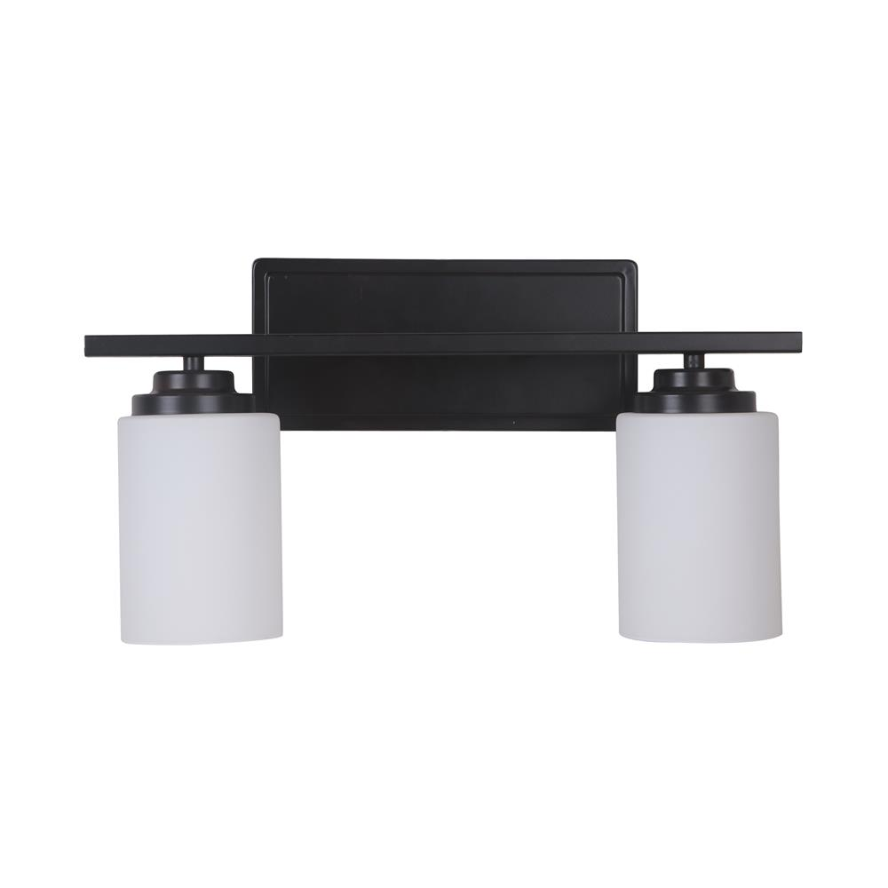 Craftmade 39702-OB Albany 2 Light Vanity in Oiled Bronze with White Frosted Glass