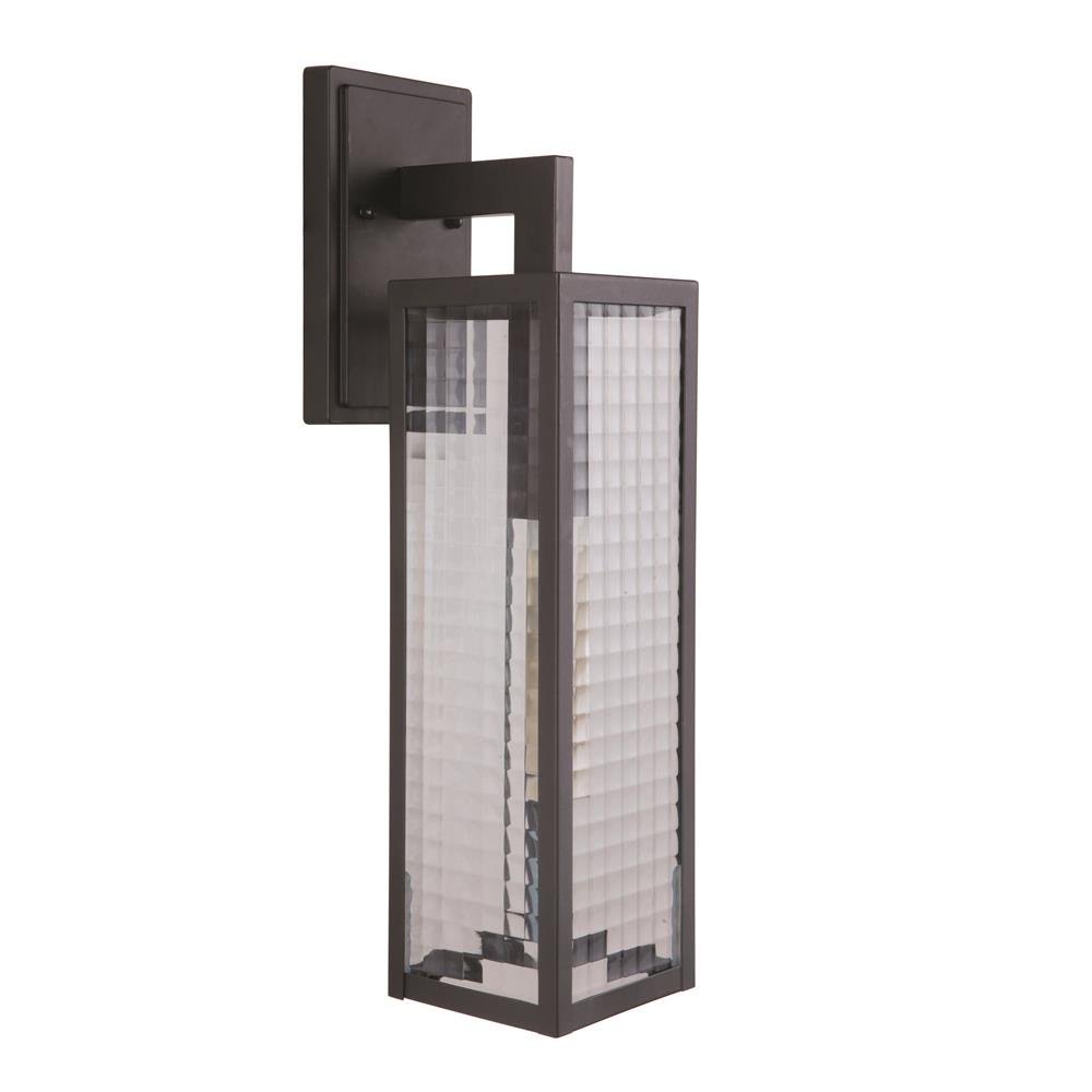 Craftmade Z4524-MN-SC Deka 1 Light Large Wall Mount in Chromite with Square Patterned Clear Glass