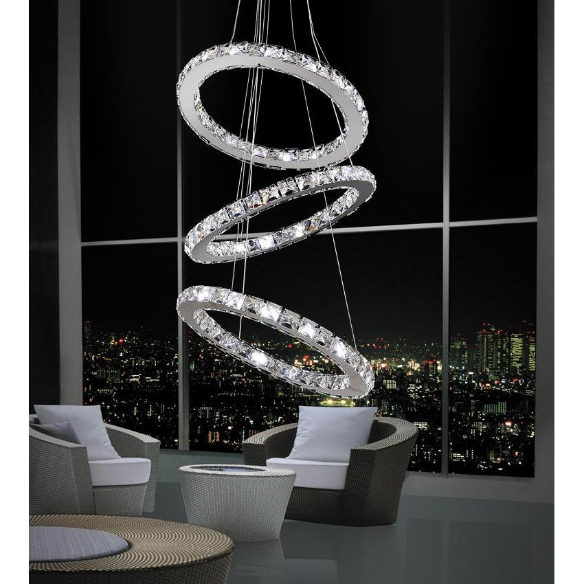 CWI Lighting 5080P16ST-3R Ring LED Chandelier with Chrome finish
