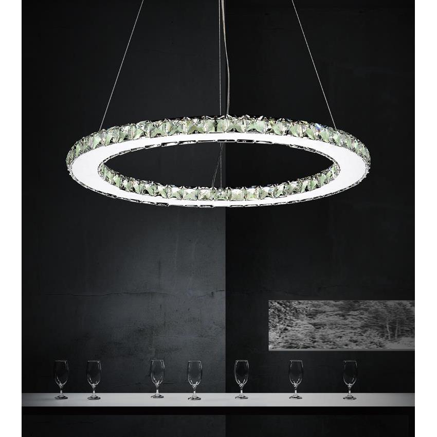 CWI Lighting 5080P24ST-R Ring LED Chandelier with Chrome finish