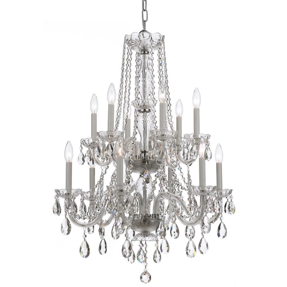 Crystorama Lighting 1137-CH-CL-MWP Traditional Crystal 12 Light Clear Crystal Chrome ChandelierI