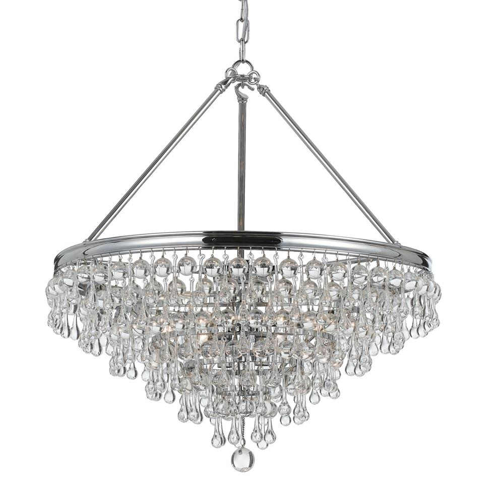 Crystorama Lighting 136-CH Calypso 6 Light Polished Chrome Transitional Chandelier Draped In Clear Glass Drops
