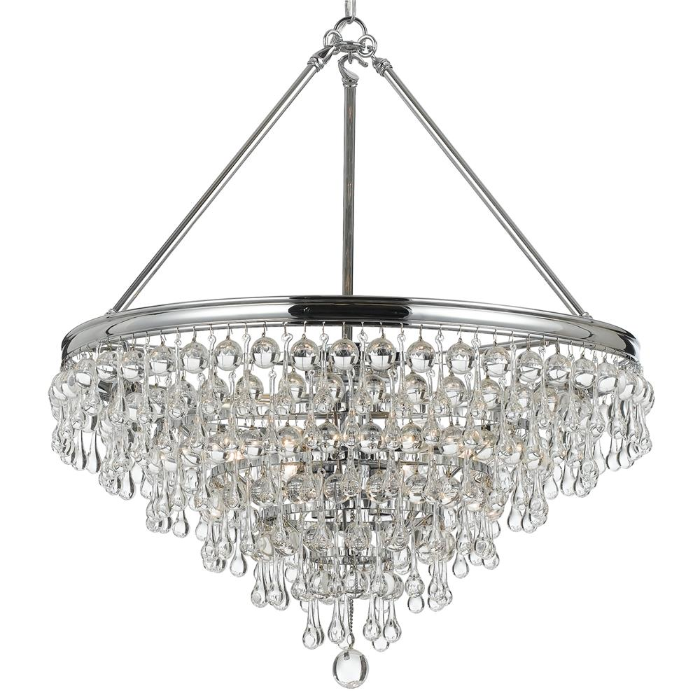 Crystorama Lighting 137-CH Calypso 8 Light Crystal Teardrop Chrome Chandelier