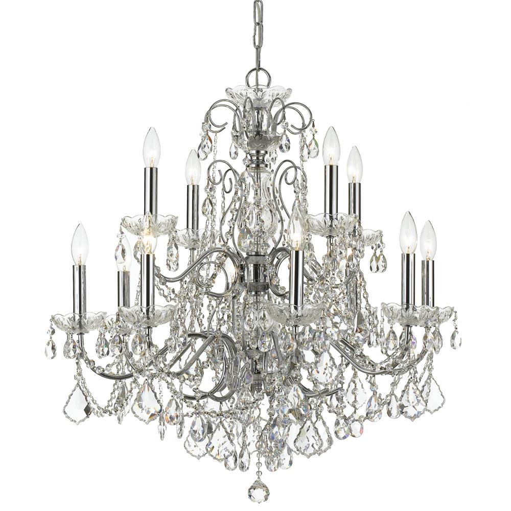 Crystorama Lighting 3228-CH-CL-MWP Imperial 12 Light Crystal Chrome Chandelier