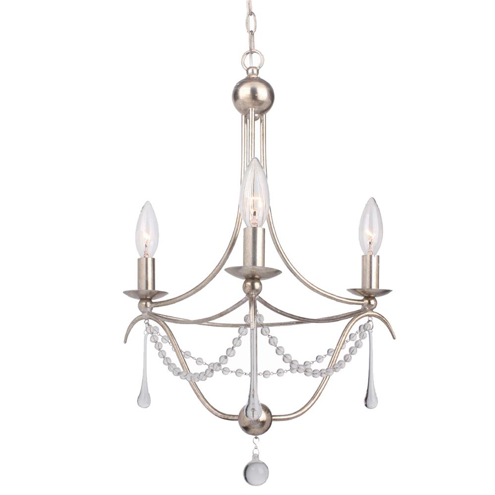 Crystorama Lighting 423-SA Metro 3 Light Antique Silver Mini Chandelier